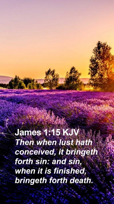 James 1:15 KJV Mobile Phone Wallpaper - Then when lust hath conceived, it bringeth forth - Mobile Bible Verse Wallpaper