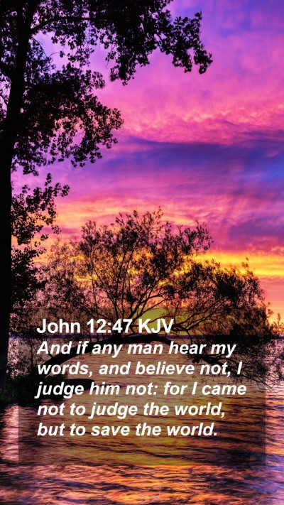 John 12:47 KJV Mobile Phone Wallpaper - And if any man hear my words, and believe not, I - Mobile Bible Verse Wallpaper
