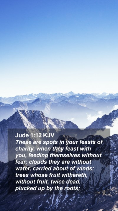 Jude 1:12 KJV Mobile Phone Wallpaper - These are spots in your feasts of charity, when - Mobile Bible Verse Wallpaper