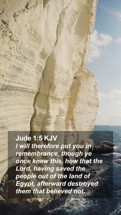 Jude 1:5 KJV Mobile Phone Wallpaper - I will therefore put you in remembrance, though - Mobile Bible Verse Wallpaper