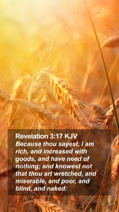 Revelation 3:17 KJV Mobile Phone Wallpaper - Because thou sayest, I am rich, and increased - Mobile Bible Verse Wallpaper