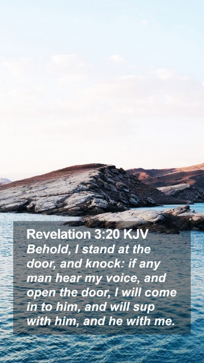 Revelation 3:20 KJV Mobile Phone Wallpaper - Behold, I stand at the door, and knock: if any - Mobile Bible Verse Wallpaper
