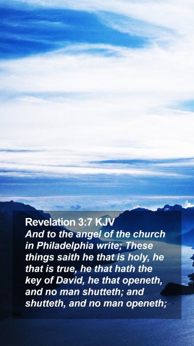 Revelation 3:7 KJV Mobile Phone Wallpaper - And to the angel of the church in Philadelphia - Mobile Bible Verse Wallpaper