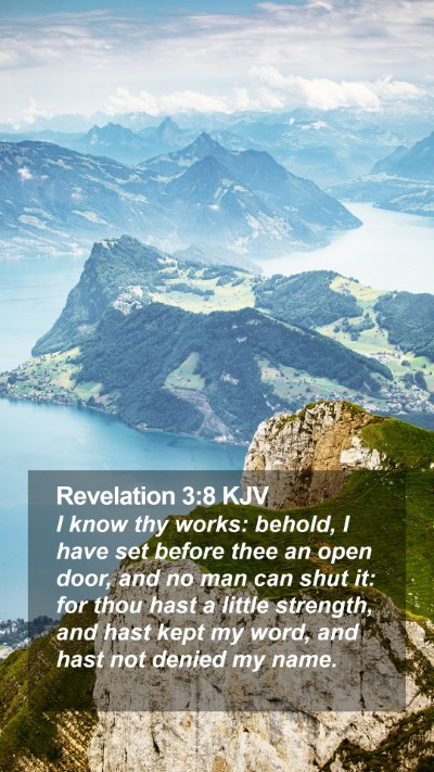 Revelation 3:8 KJV Mobile Phone Wallpaper - I know thy works: behold, I have set before thee - Mobile Bible Verse Wallpaper