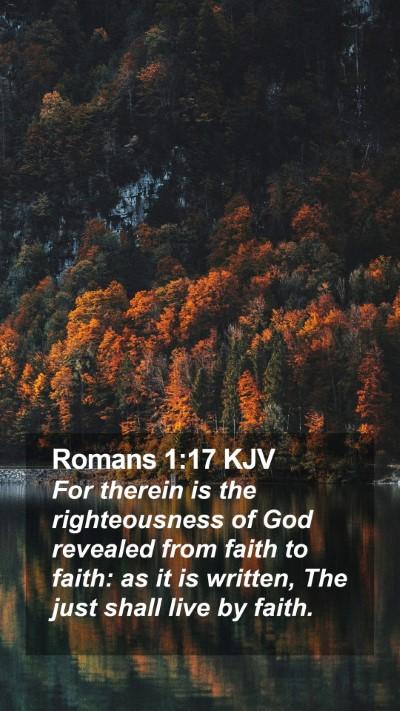 Romans 1:17 KJV Mobile Phone Wallpaper - For therein is the righteousness of God revealed - Mobile Bible Verse Wallpaper