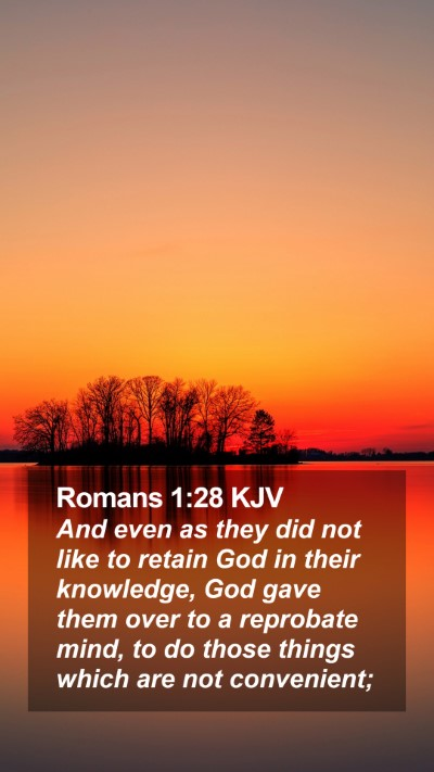 Romans 1:28 KJV Mobile Phone Wallpaper - And even as they did not like to retain God in - Mobile Bible Verse Wallpaper
