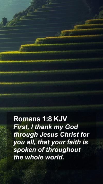 Romans 1:8 KJV Mobile Phone Wallpaper - First, I thank my God through Jesus Christ for - Mobile Bible Verse Wallpaper