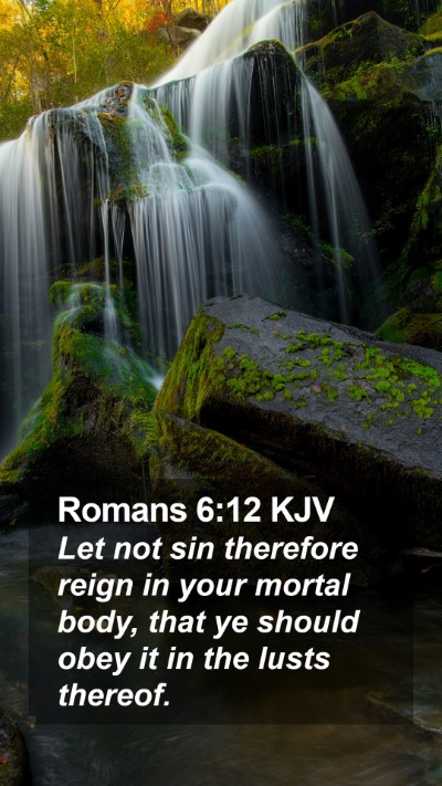 Romans 6:12 KJV Mobile Phone Wallpaper - Let not sin therefore reign in your mortal body, - Mobile Bible Verse Wallpaper