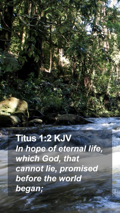 Titus 1:2 KJV Mobile Phone Wallpaper - In hope of eternal life, which God, that cannot - Mobile Bible Verse Wallpaper