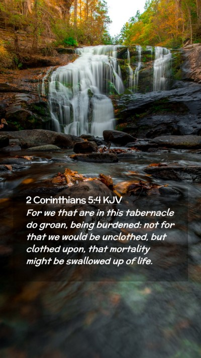 Picture 02 - 2 Corinthians 5:4 KJV Mobile Phone Wallpaper - For we that are in this tabernacle do groan, - Mobile Bible Verse Wallpaper