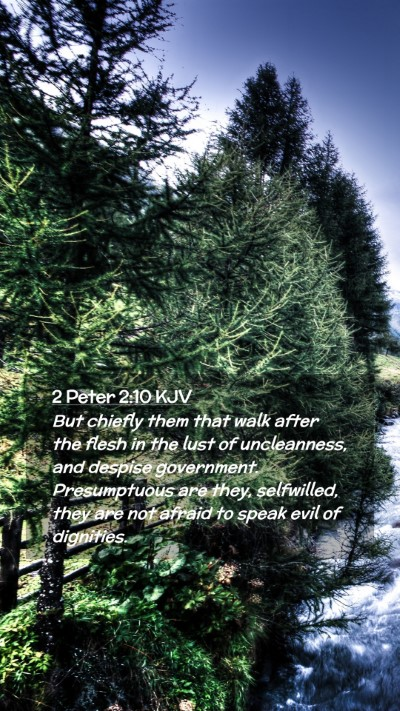 Picture 02 - 2 Peter 2:10 KJV Mobile Phone Wallpaper - But chiefly them that walk after the flesh in the - Mobile Bible Verse Wallpaper