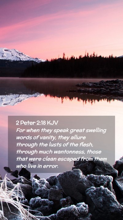 Picture 02 - 2 Peter 2:18 KJV Mobile Phone Wallpaper - For when they speak great swelling words of - Mobile Bible Verse Wallpaper