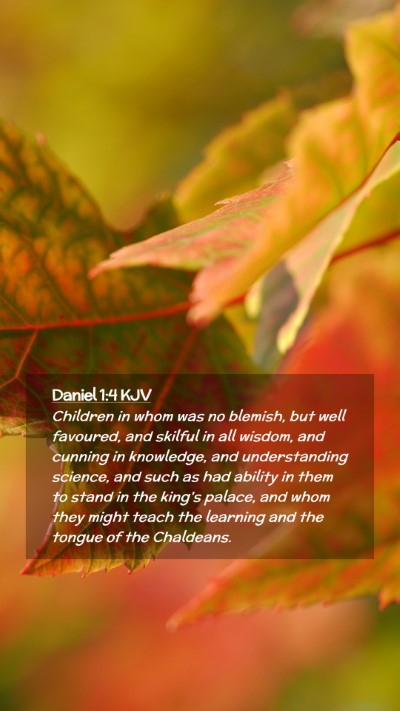 Picture 02 - Daniel 1:4 KJV Mobile Phone Wallpaper - Children in whom was no blemish, but well - Mobile Bible Verse Wallpaper