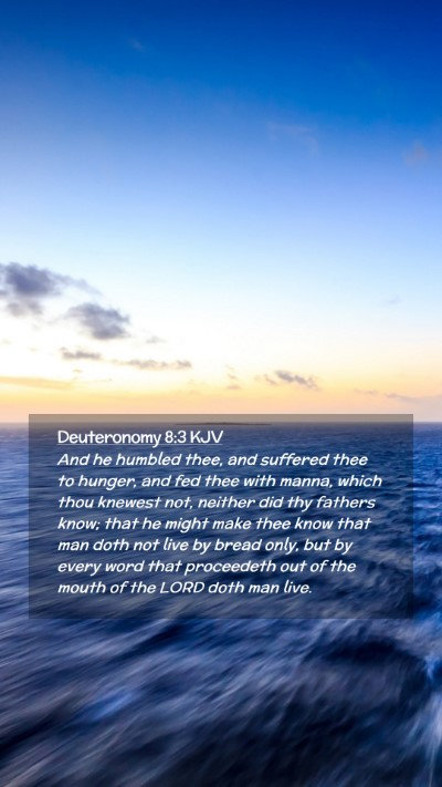 Picture 02 - Deuteronomy 8:3 KJV Mobile Phone Wallpaper - And he humbled thee, and suffered thee to hunger, - Mobile Bible Verse Wallpaper