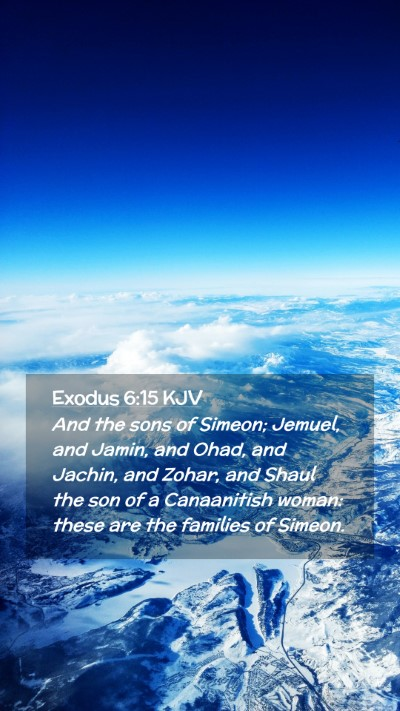 Picture 02 - Exodus 6:15 KJV Mobile Phone Wallpaper - And the sons of Simeon; Jemuel, and Jamin, and - Mobile Bible Verse Wallpaper