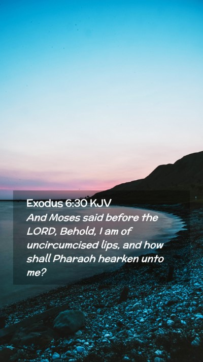 Picture 02 - Exodus 6:30 KJV Mobile Phone Wallpaper - And Moses said before the LORD, Behold, I am of - Mobile Bible Verse Wallpaper