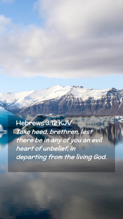 Picture 02 - Hebrews 3:12 KJV Mobile Phone Wallpaper - Take heed, brethren, lest there be in any of you - Mobile Bible Verse Wallpaper
