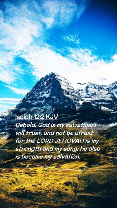 Picture 02 - Isaiah 12:2 KJV Mobile Phone Wallpaper - Behold, God is my salvation; I will trust, and - Mobile Bible Verse Wallpaper