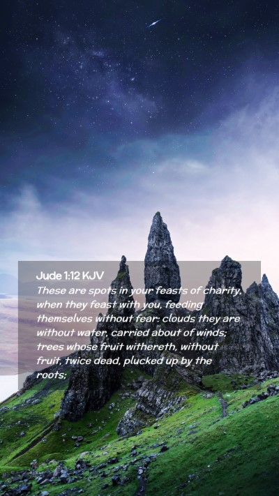 Picture 02 - Jude 1:12 KJV Mobile Phone Wallpaper - These are spots in your feasts of charity, when - Mobile Bible Verse Wallpaper
