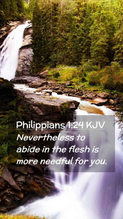 Picture 02 - Philippians 1:24 KJV Mobile Phone Wallpaper - Nevertheless to abide in the flesh is more - Mobile Bible Verse Wallpaper