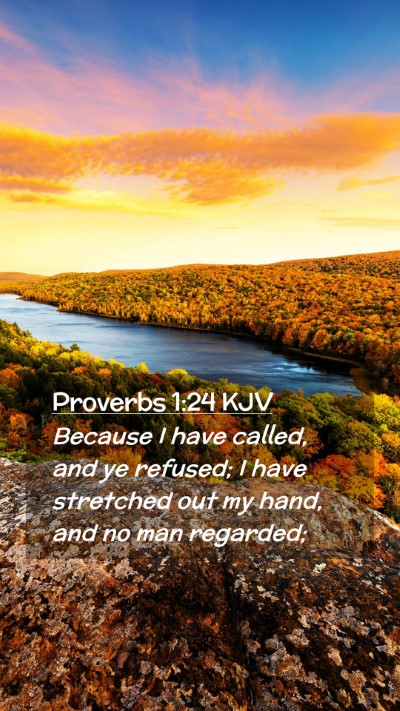 Picture 02 - Proverbs 1:24 KJV Mobile Phone Wallpaper - Because I have called, and ye refused; I have - Mobile Bible Verse Wallpaper
