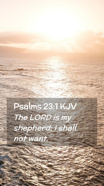 Picture 02 - Psalms 23:1 KJV Mobile Phone Wallpaper - The LORD is my shepherd; I shall not - Mobile Bible Verse Wallpaper