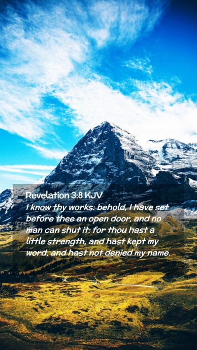 Picture 02 - Revelation 3:8 KJV Mobile Phone Wallpaper - I know thy works: behold, I have set before thee - Mobile Bible Verse Wallpaper