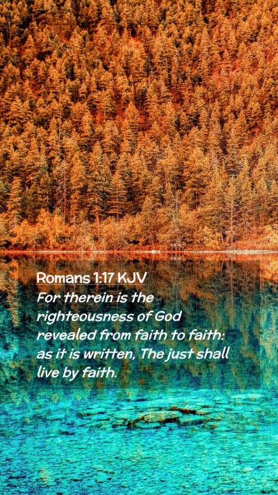 Picture 02 - Romans 1:17 KJV Mobile Phone Wallpaper - For therein is the righteousness of God revealed - Mobile Bible Verse Wallpaper