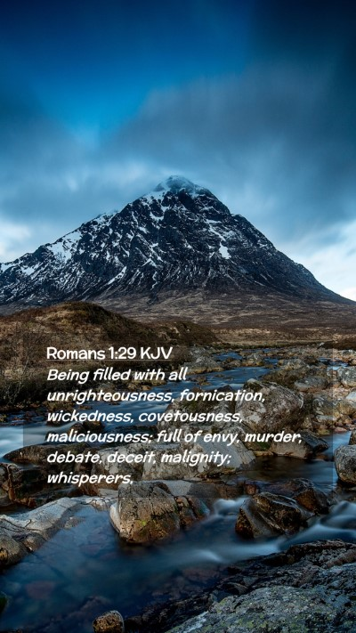 Picture 02 - Romans 1:29 KJV Mobile Phone Wallpaper - Being filled with all unrighteousness, - Mobile Bible Verse Wallpaper