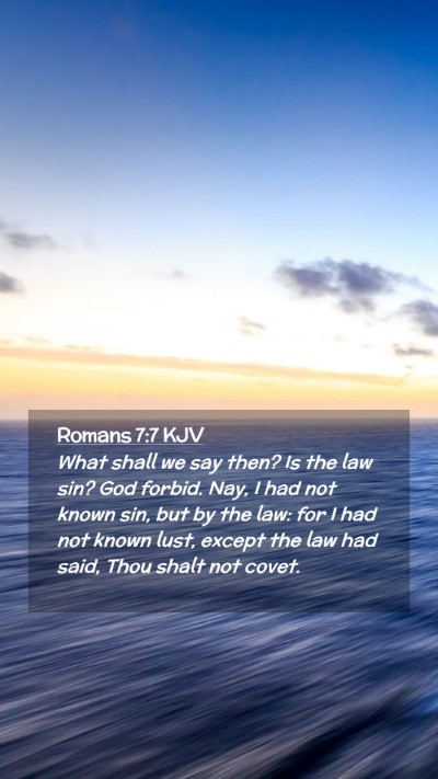 Picture 02 - Romans 7:7 KJV Mobile Phone Wallpaper - What shall we say then? Is the law sin? God - Mobile Bible Verse Wallpaper