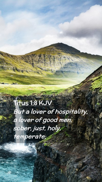 Picture 02 - Titus 1:8 KJV Mobile Phone Wallpaper - But a lover of hospitality, a lover of good men, - Mobile Bible Verse Wallpaper