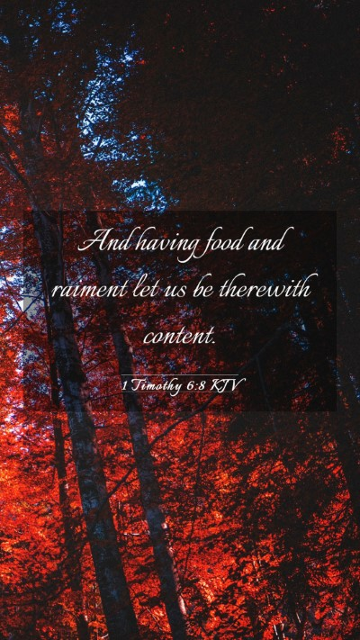 Picture 03 - 1 Timothy 6:8 KJV Mobile Phone Wallpaper - And having food and raiment let us be therewith - Mobile Bible Verse Wallpaper
