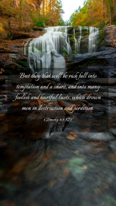 Picture 03 - 1 Timothy 6:9 KJV Mobile Phone Wallpaper - But they that will be rich fall into temptation - Mobile Bible Verse Wallpaper