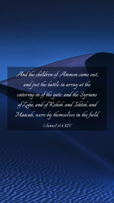 Picture 03 - 2 Samuel 10:8 KJV Mobile Phone Wallpaper - And the children of Ammon came out, and put the - Mobile Bible Verse Wallpaper