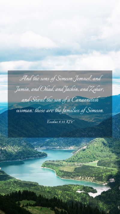 Picture 03 - Exodus 6:15 KJV Mobile Phone Wallpaper - And the sons of Simeon; Jemuel, and Jamin, and - Mobile Bible Verse Wallpaper