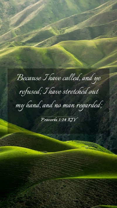 Picture 03 - Proverbs 1:24 KJV Mobile Phone Wallpaper - Because I have called, and ye refused; I have - Mobile Bible Verse Wallpaper