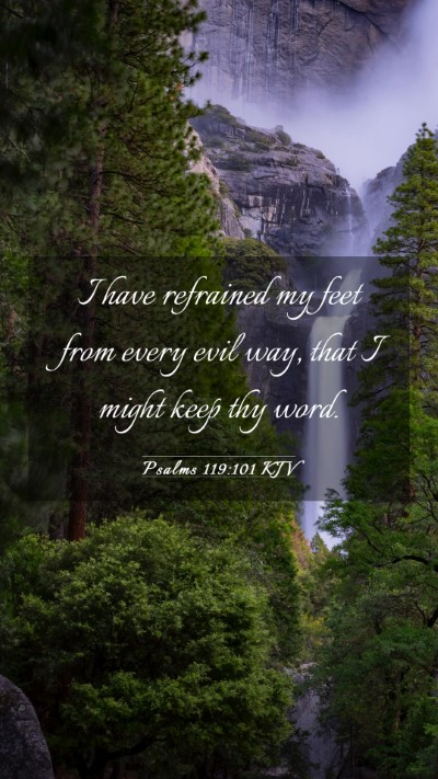Picture 03 - Psalms 119:101 KJV Mobile Phone Wallpaper - I have refrained my feet from every evil way, - Mobile Bible Verse Wallpaper