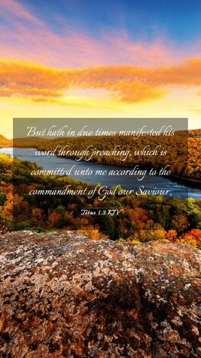 Picture 03 - Titus 1:3 KJV Mobile Phone Wallpaper - But hath in due times manifested his word through - Mobile Bible Verse Wallpaper