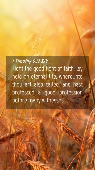 Picture 04 - 1 Timothy 6:12 KJV Mobile Phone Wallpaper - Fight the good fight of faith, lay hold on - Mobile Bible Verse Wallpaper