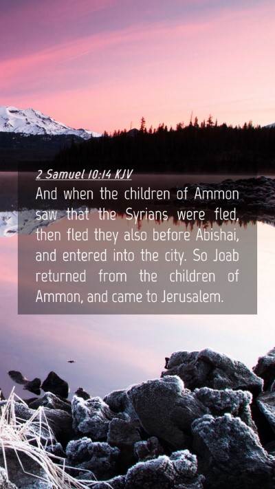 Picture 04 - 2 Samuel 10:14 KJV Mobile Phone Wallpaper - And when the children of Ammon saw that the - Mobile Bible Verse Wallpaper