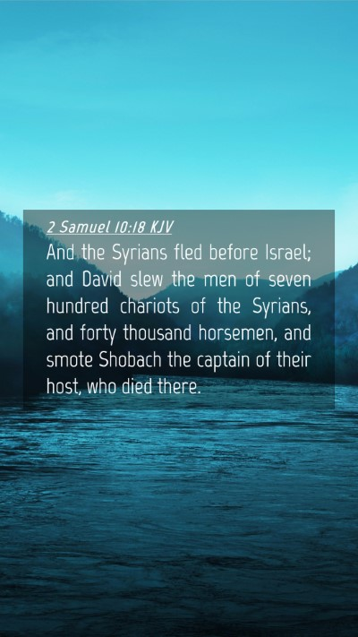 Picture 04 - 2 Samuel 10:18 KJV Mobile Phone Wallpaper - And the Syrians fled before Israel; and David - Mobile Bible Verse Wallpaper