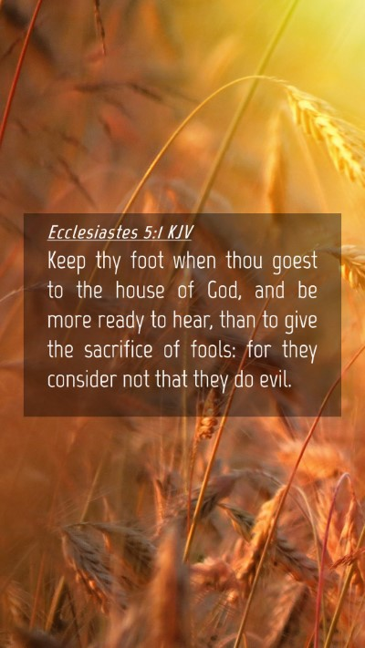 Picture 04 - Ecclesiastes 5:1 KJV Mobile Phone Wallpaper - Keep thy foot when thou goest to the house of - Mobile Bible Verse Wallpaper