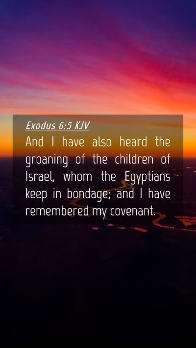 Picture 04 - Exodus 6:5 KJV Mobile Phone Wallpaper - And I have also heard the groaning of the - Mobile Bible Verse Wallpaper