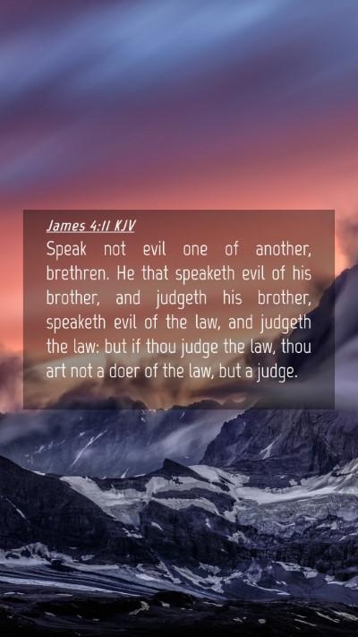 Picture 04 - James 4:11 KJV Mobile Phone Wallpaper - Speak not evil one of another, brethren. He that - Mobile Bible Verse Wallpaper