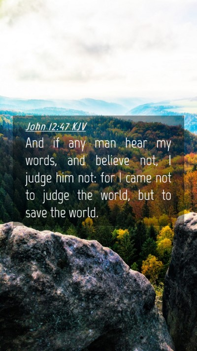 Picture 04 - John 12:47 KJV Mobile Phone Wallpaper - And if any man hear my words, and believe not, I - Mobile Bible Verse Wallpaper