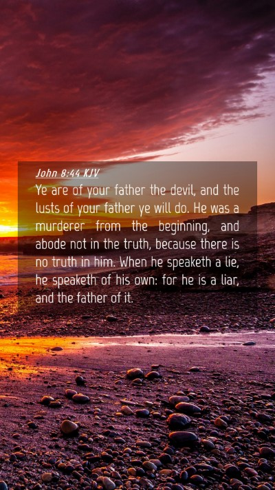 Picture 04 - John 8:44 KJV Mobile Phone Wallpaper - Ye are of your father the devil, and the lusts of - Mobile Bible Verse Wallpaper