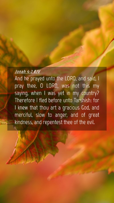 Picture 04 - Jonah 4:2 KJV Mobile Phone Wallpaper - And he prayed unto the LORD, and said, I pray - Mobile Bible Verse Wallpaper