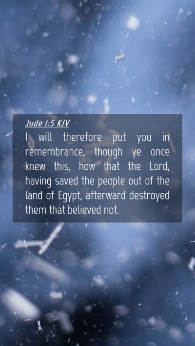 Picture 04 - Jude 1:5 KJV Mobile Phone Wallpaper - I will therefore put you in remembrance, though - Mobile Bible Verse Wallpaper