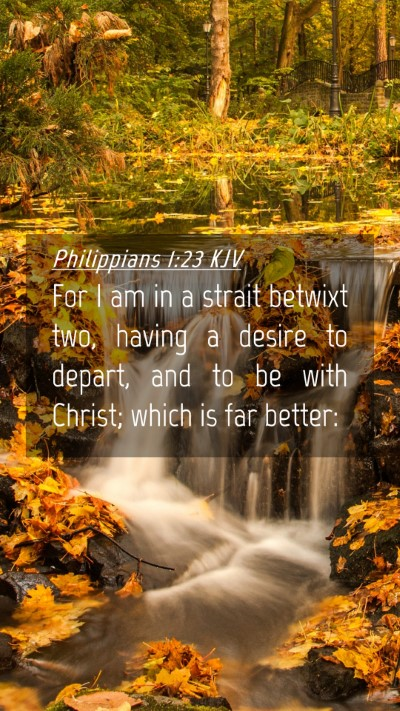 Picture 04 - Philippians 1:23 KJV Mobile Phone Wallpaper - For I am in a strait betwixt two, having a desire - Mobile Bible Verse Wallpaper