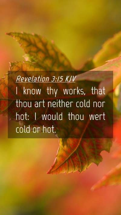 Picture 04 - Revelation 3:15 KJV Mobile Phone Wallpaper - I know thy works, that thou art neither cold nor - Mobile Bible Verse Wallpaper